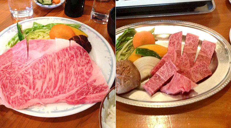 田子牛サーロイン定食と田子牛特上カルビ