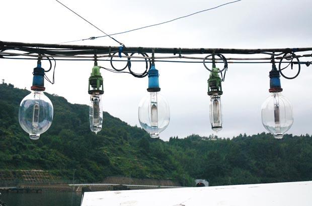 イカ釣り漁で使われる漁火のライト