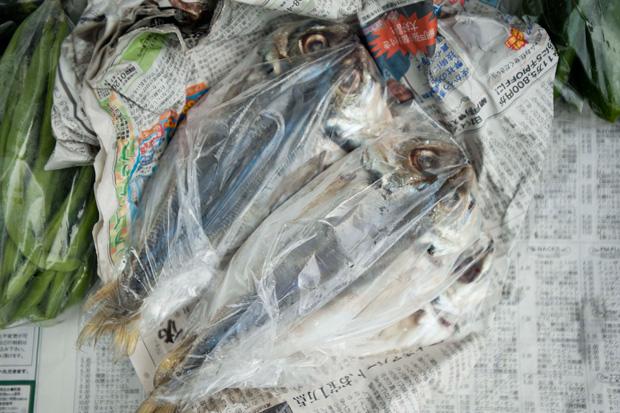 肉厚の魚も人気商品。鯵の干物3枚 500円 塩シャケ3切600円