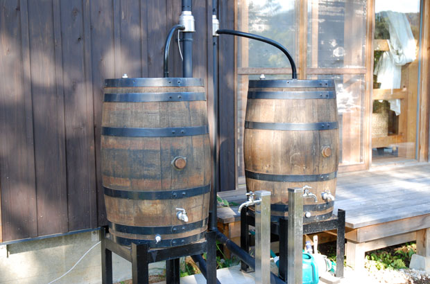 雨水を貯める樽