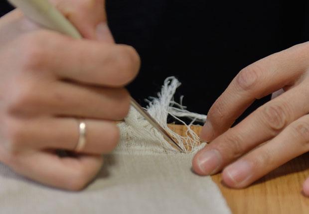 7cmまで横糸を抜いていく作業