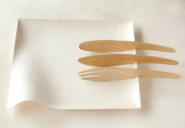 角皿と竹製カトラリー