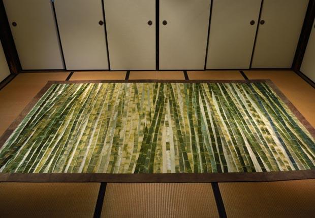竹をモチーフにしたパッチワークキルト作品