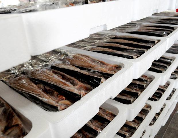 鯖の文化干しの陳列