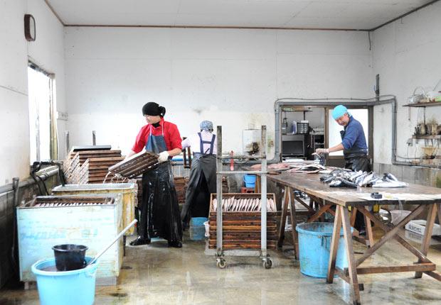 加工場左側にある四角い水槽に熟成つけ汁が。つけ込んだ鯖を引き上げ、これから天日干しに入ります。