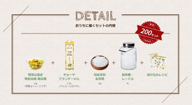 〈チョーヤ 手作り梅酒キット2018〉のセット内容