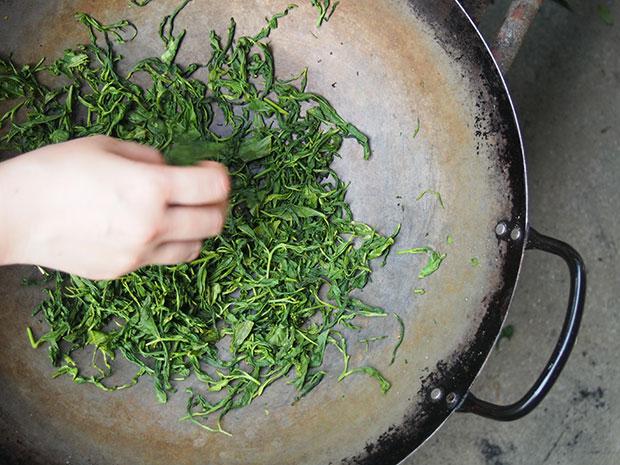 日本で飲まれるお茶は、95%以上が蒸してつくられたもの。釜炒り茶は珍しく、貴重品とされています。