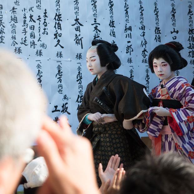 農村歌舞伎で今年は初の男役に挑戦したいろは(娘)。