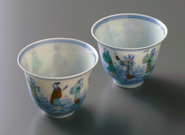 『豆彩八仙文杯』(8口のうち)景徳鎮窯清時代(17〜18世紀)口径6.0cm