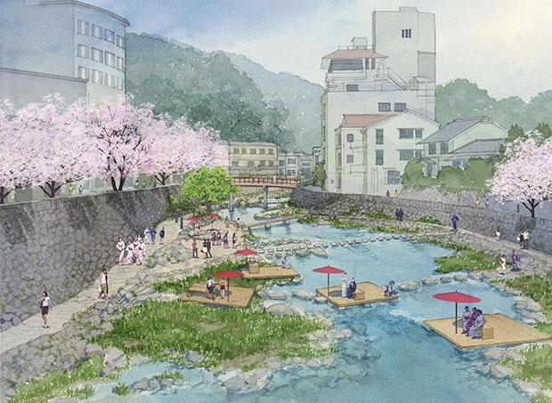 将来、春の川床は温泉街一番の写真スポットとなるだろう。