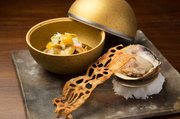 京都丹後産の魚介を使ったメニューの一例。