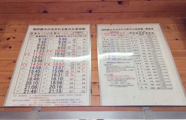 地震後使われなくなった時刻表。