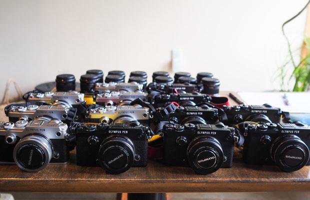 参加者全員に貸し出された〈OLYMPUS PEN-F〉。小豆島カメラメンバーも使っています。