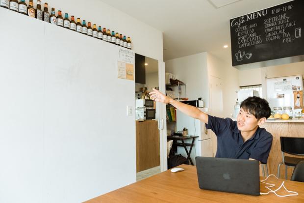 壁一面がホワイトボードになっており、イベントやミーティングなどの際に活躍するそう。