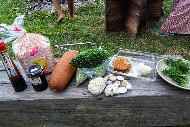肝臓に良いという沖縄ハーブ・ハママーチを加えて、今回の材料がすべて揃った!