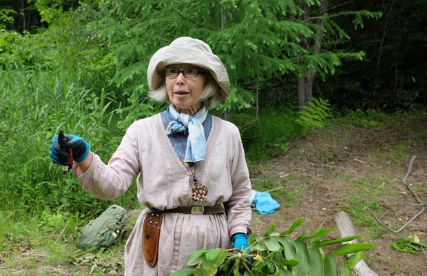 長谷川美和子さん。昨年、東京から、クルミをはじめ、コウゾやクワなどの木が豊富にある秩父に移住。さまざまな地域に足を運んで素材を採取している。