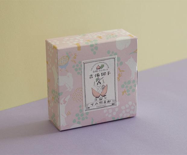淡い色使いがキュートな〈つるの玉子本舗 下山松壽軒〉の吉備団子新パッケージ。