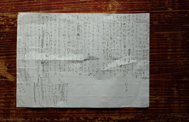 手書きの原稿。いままでは下書き程度だったが、もう少し精度を高めようと文字数も考えながら書くように練習中だ。