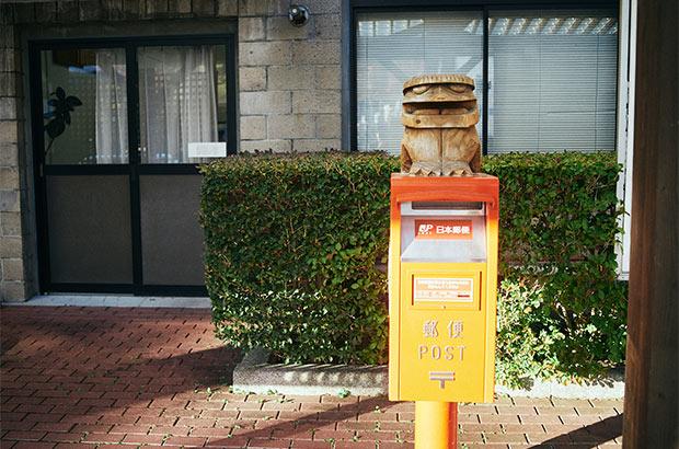 遠野市にはカッパ伝説がある。郵便ポストの上にもカッパが鎮座。