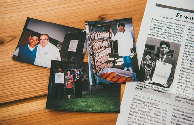 ドイツ修業時代の写真や、グランプリ受賞時の新聞。