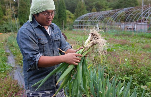 トシくんこと阿部恵さん。2016年に毛陽地区に移住し野菜を育てている。