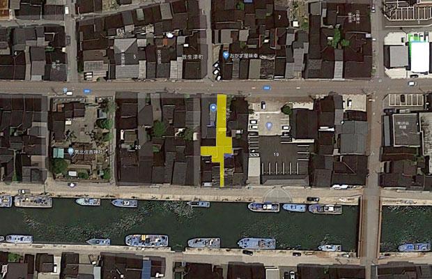 黄色い部分が建物の形。
