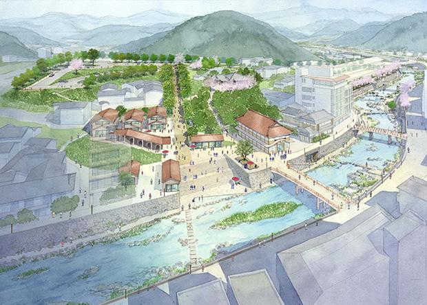 計画で示された温泉街の様子。駐車場を国道沿い移動させ、歩いて温泉街に向かうアプローチなどの提案があった。