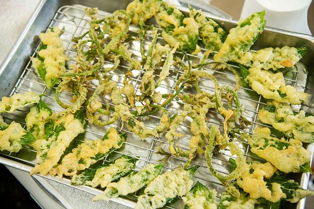 キクイモの葉と、葛の新芽を天ぷらに。キクイモの葉をほおばれば、ほんのりキクイモの香りが。