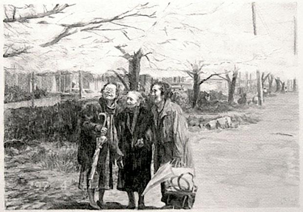 3人のうち右側の女性が清島アパートの家主だった石丸麗子さん。