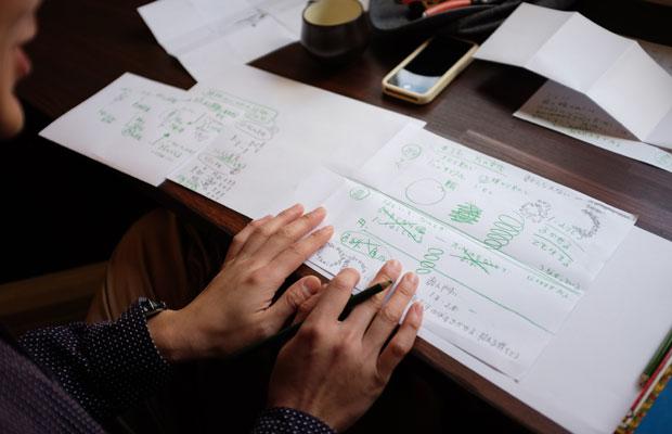 柴田さんが本づくりのアイデアを描いたスケッチ。北海道では野に生えている植物だけでなく、栽培品種の中にもすばらしいものがあるという。どちらも北海道の植物であり、それを対比させながら見せていく方法を考えていた。
