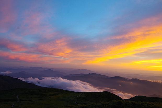 白山から観える夕日