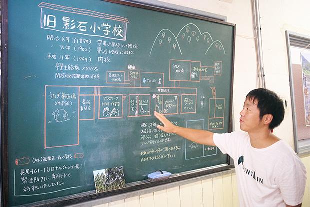 会社が入っているのは旧影石小学校。黒板に書かれている校内マップを使って案内してくれた〈エーゼロ〉の岡野 豊さん。
