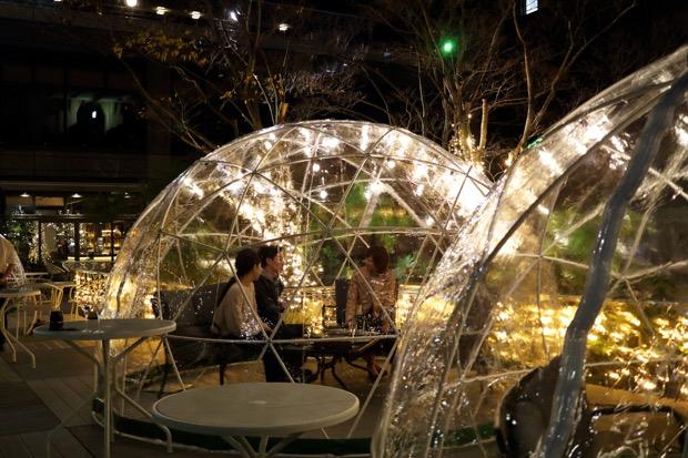 天王洲こたつガーデンのドーム型テント