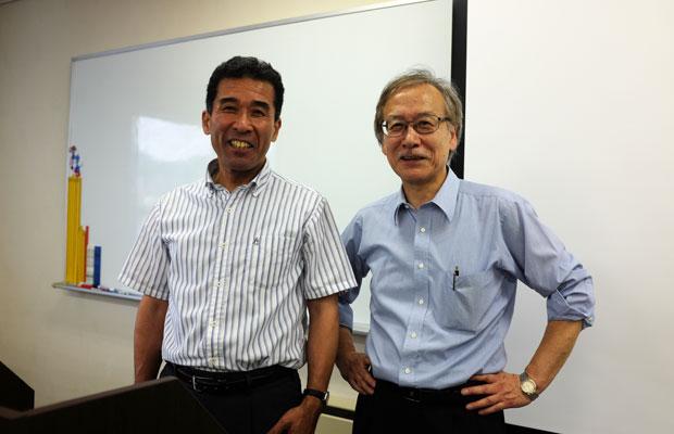 〈北海道に自由な小学校をつくる会〉の中心メンバー。左が細田孝哉さん。右はフリースクール〈月寒スクール〉を運営する北海道自由が丘学園の代表理事の吉野正敏さん。細田さんとともに学校づくりに奔走している。