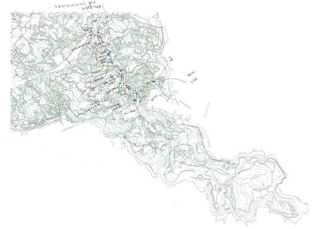 まち歩きのルートや、訪れる場所や出会う人についてヒアリングした際の地図。