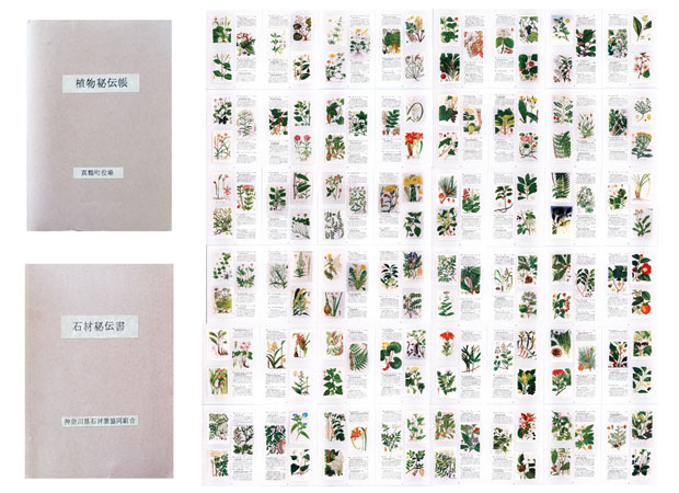 真鶴出版のふたりが役場の本棚に埋もれているのを見つけた「植物秘伝帳」と「石材秘伝書」。コミュニティ真鶴の設計時に調査した石の加工方法や相場、真鶴に自生する植物のリストなどをまとめ、その後に町や設計者に活用されることを目指した資料。
