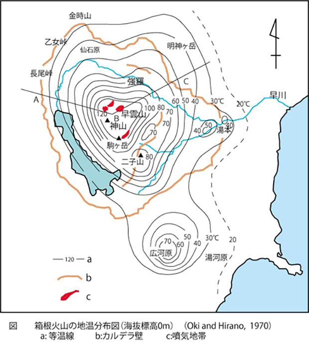箱根火山の地温分布図(海抜標高0m)(Oki and Hirano,1970) (神奈川温泉地学研究所より)