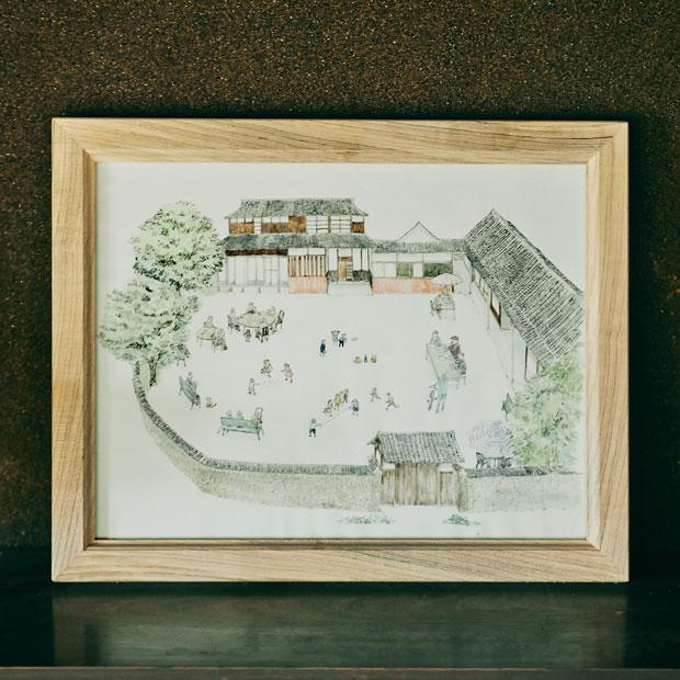 梅村邸の近い将来の想像図。梅村さんはこの絵をよく眺めているという。目指すところは地域のコミュニティとして機能する家。