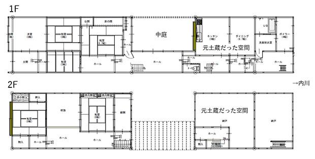 中庭から左が母屋、右が土蔵だった建屋と番屋(作業小屋)。