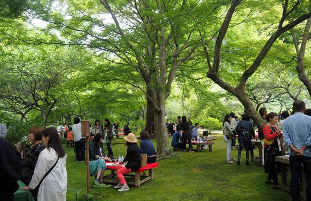 鎌倉・二階堂にある覚園寺で毎年開催されている〈terra! terra! terra!〉。兵藤さんが「鎌倉の原風景」と語る覚園寺は、通常スタッフの案内がないと拝観できないが、この日ばかりは境内の思い思いの場所で多様な自然派ワインと、鎌倉周辺の飲食店による料理を楽しめる。2019年は5月19日に開催される予定だ。(写真提供:terra! terra! terra!)