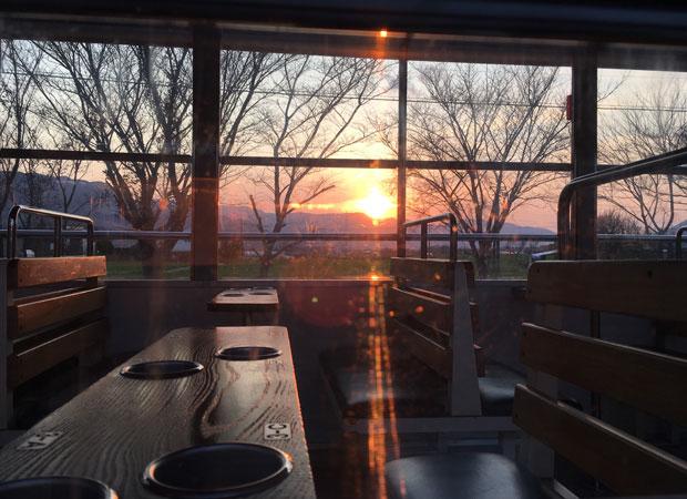 高森駅からの夕日の眺め。