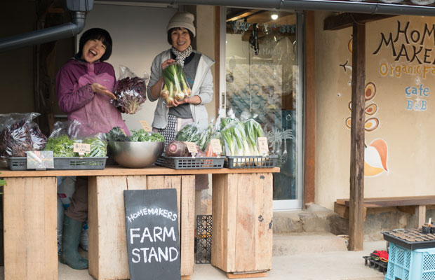 カフェの横に小さな「FARM STAND」をつくりました。カフェの営業日には野菜が並びます。
