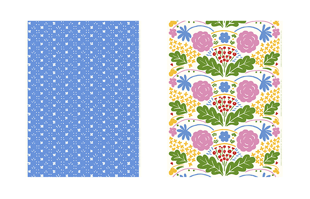 マリメッコから復刻されるファブリック。左から「Kukkaketo(クッカケト/花畑)」、「Onni(オンニ/幸せ)」。