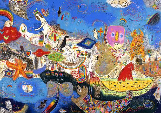 傍嶋さんの絵画。おもちゃ箱をひっくり返したようにさまざまなモチーフが描かれているが、同時に色彩が心地よいリズムをつくり出している。