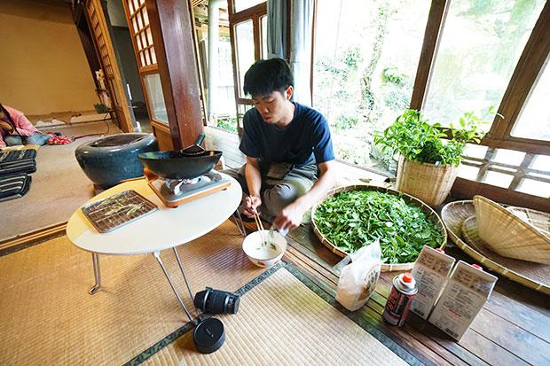 摘みたてのお茶の新芽をどんどん天ぷらにしていきます。