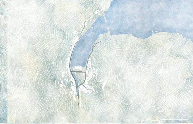 三重県尾鷲市梶賀町周辺の地形図。