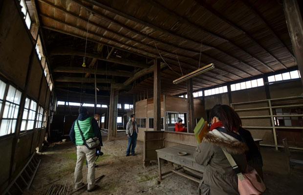 2012年に実施した、旧八女郡役所の内部大空間の調査。