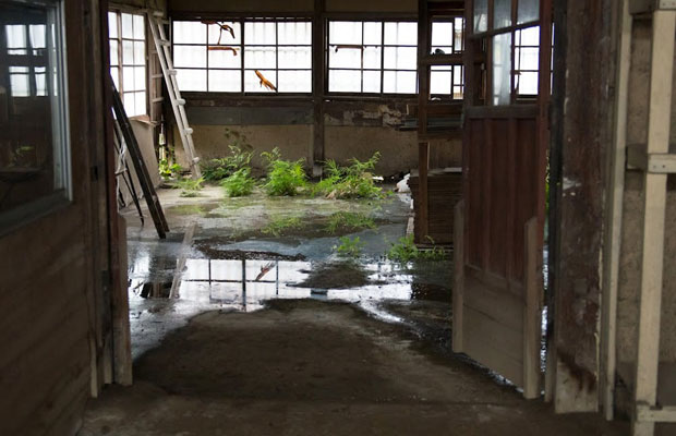雨漏りがひどい内部。ドキュメンタリー映画『まちや紳士録』(2012年)には、当時の旧八女郡役所が登場し、廃墟感が生々しく映されています。