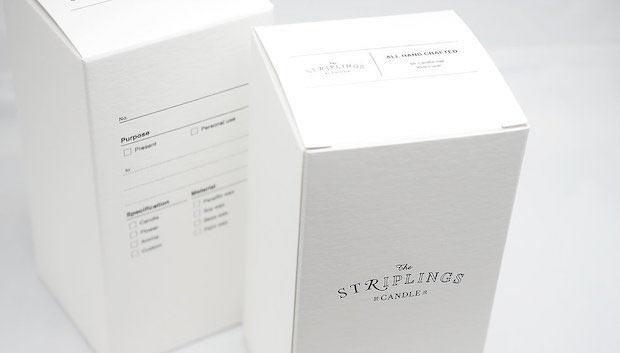 櫻武さんの手がけた〈the STRIPLINGS candle〉のパッケージ。