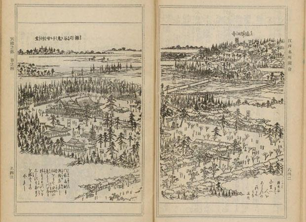 『江戸名所図会』。左側に鬼子母神堂境内、右奥に法明寺が描かれている。(国立国会図書館デジタルコレクションより)